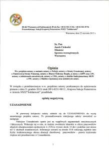 Opinia ws  projektu ustawy o zmianie ustaw o Policji, SG, PSP i innych służb_Page_1